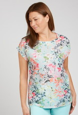 Renuar Renuar R7677 Floral Print Short Sleeve Top with Black and White Striped Back