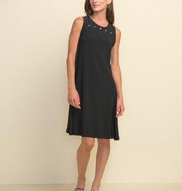 Joseph Ribkoff Joseph Ribkoff 211244 Sleeveless A Line Dress with Silver Tone Grommets at Neckline