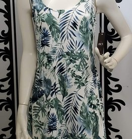 ISCA Seafoam Tropical Pattern Sleeveless Dress