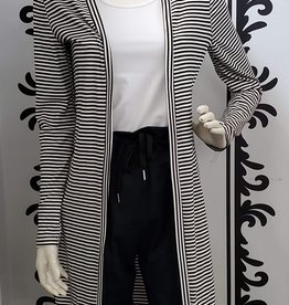 Saba & Co Saba & Co TTDU01 Black and White Stripe Duster Cardigan