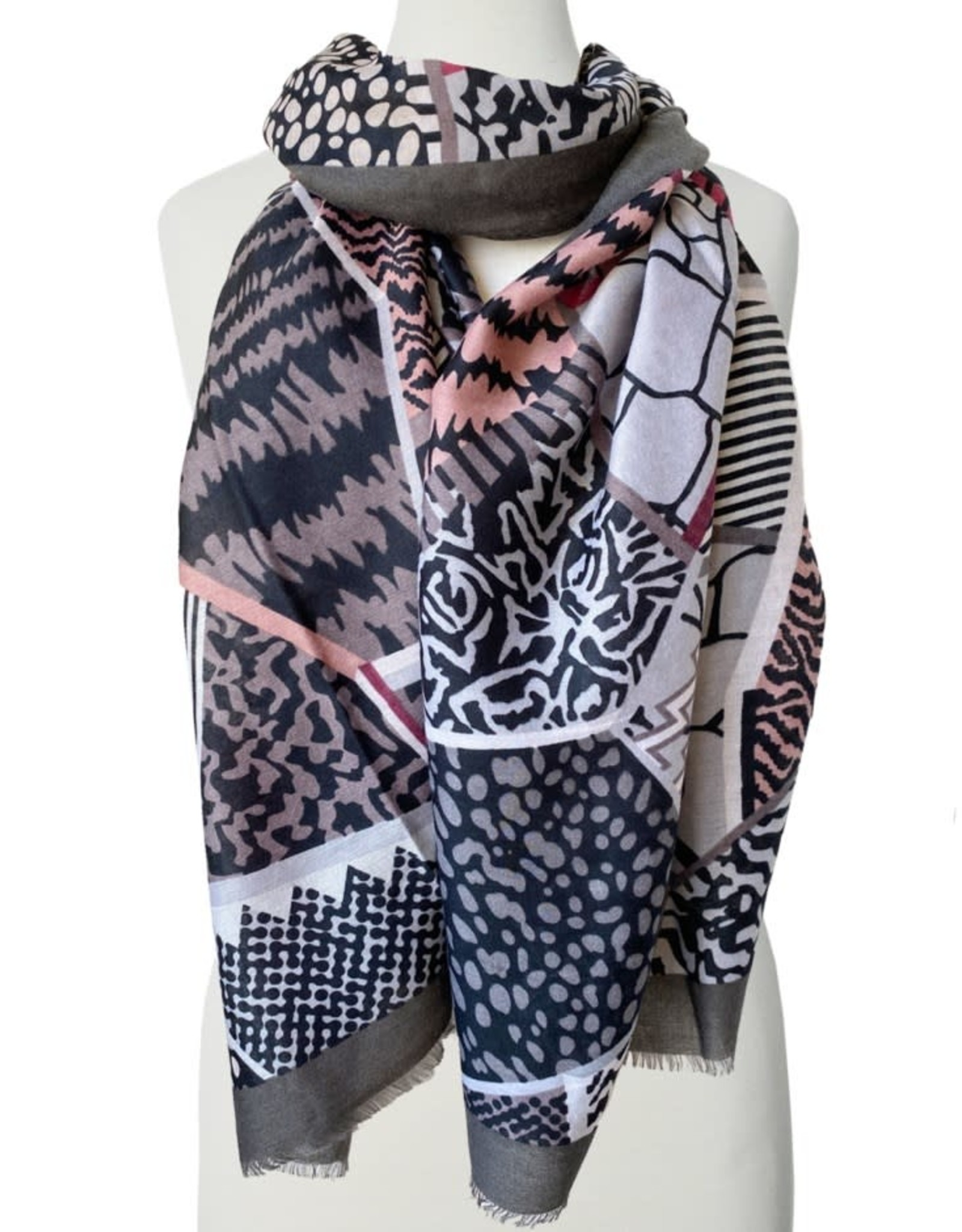 Caracol Colourful patchwork scarf 6103