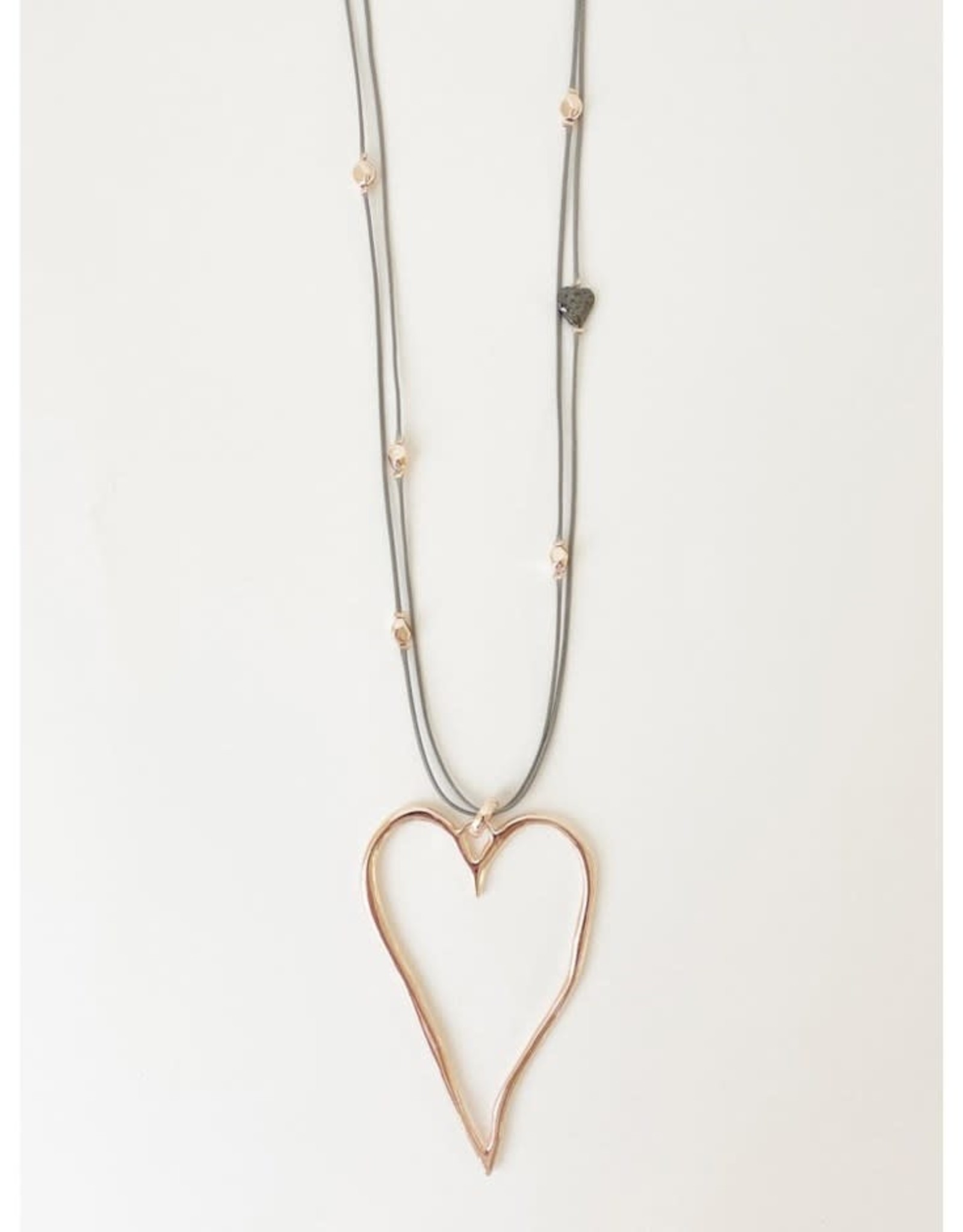 Caracol Adjustable cord necklace with large heart pendant