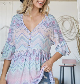 Lovely J Hello Spring Baby Doll Top