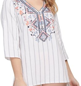 Tribal Tribal Rollup Sleeve Embroidered Blouse 7089O