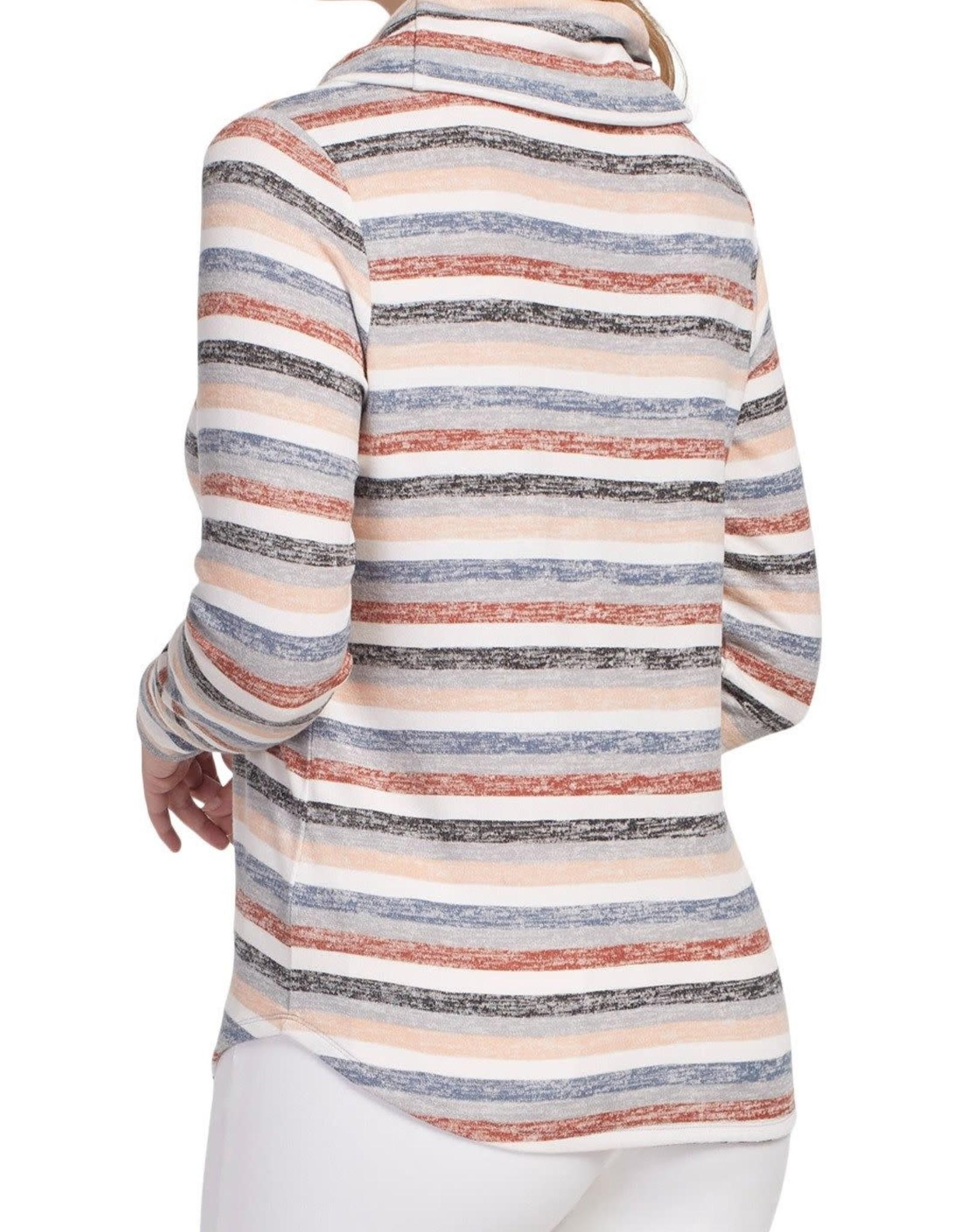 Tribal Long sleeve cowl neck top 4641O
