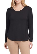 Tribal Tribal long sleeve crew neck top with back button detail 4664O