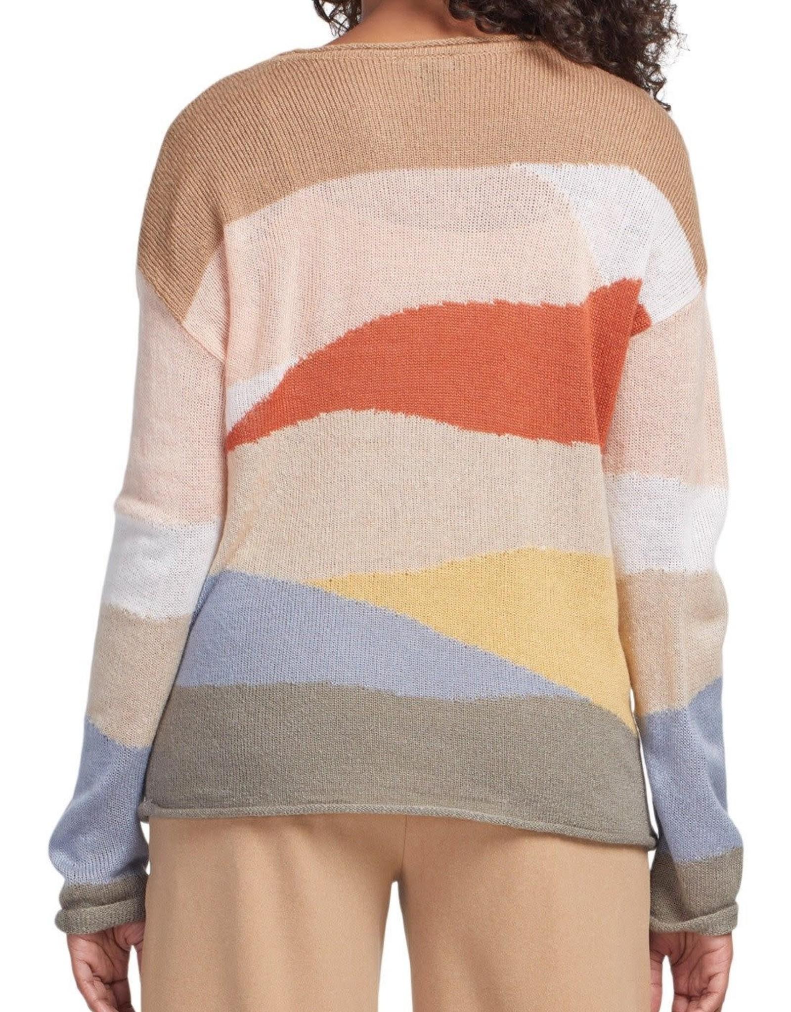 Tribal Tribal long sleeve scoop neck  intarsia sweater 4669O