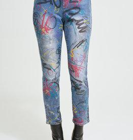 Joseph Ribkoff Ladies denim pant with design 213895