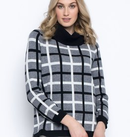 Picadilly Picadilly, Draped Neck Plaid Sweater, QK109