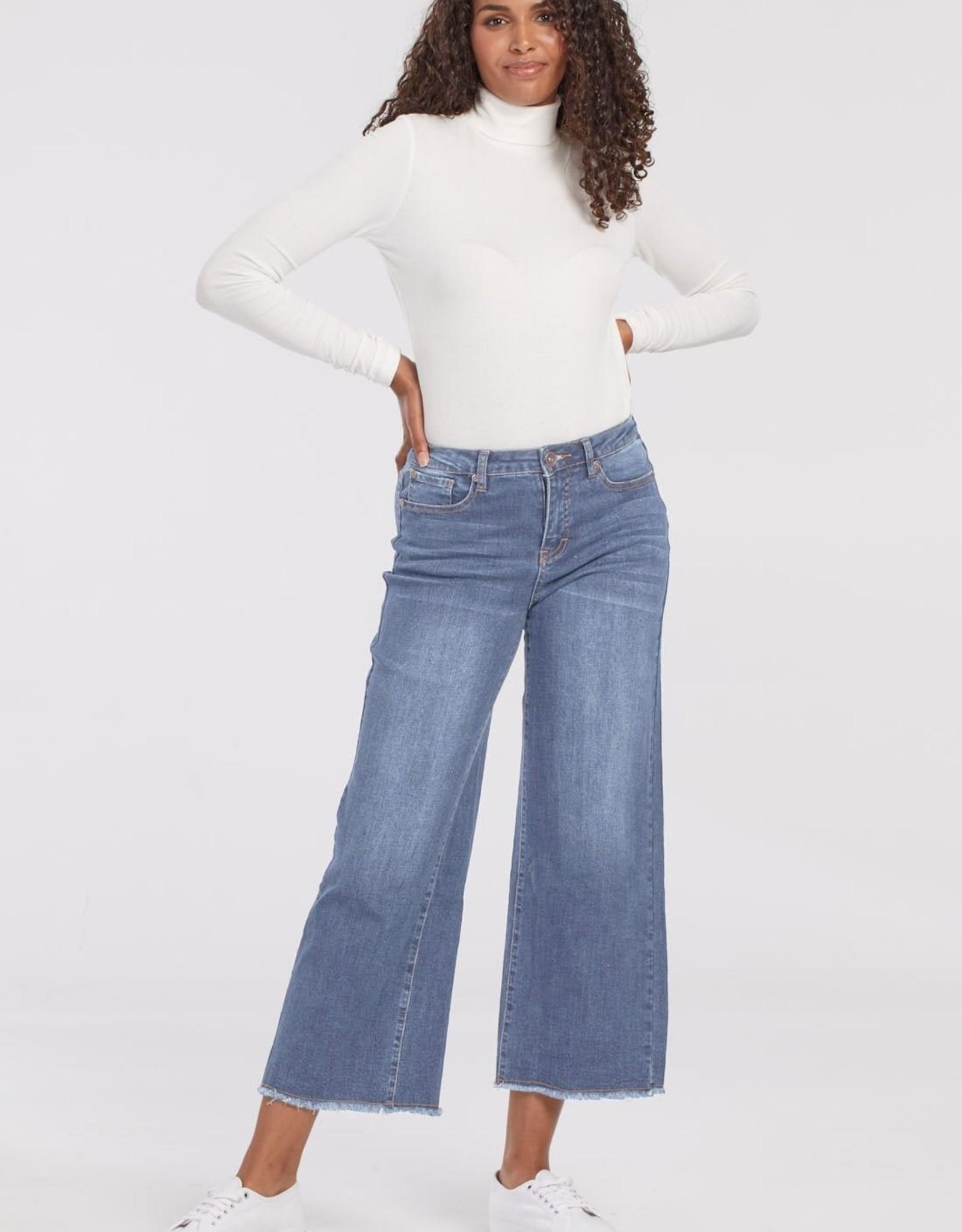 Tribal Tribal 6741O Audrey 5 Pocket Wide Leg Crop Jean