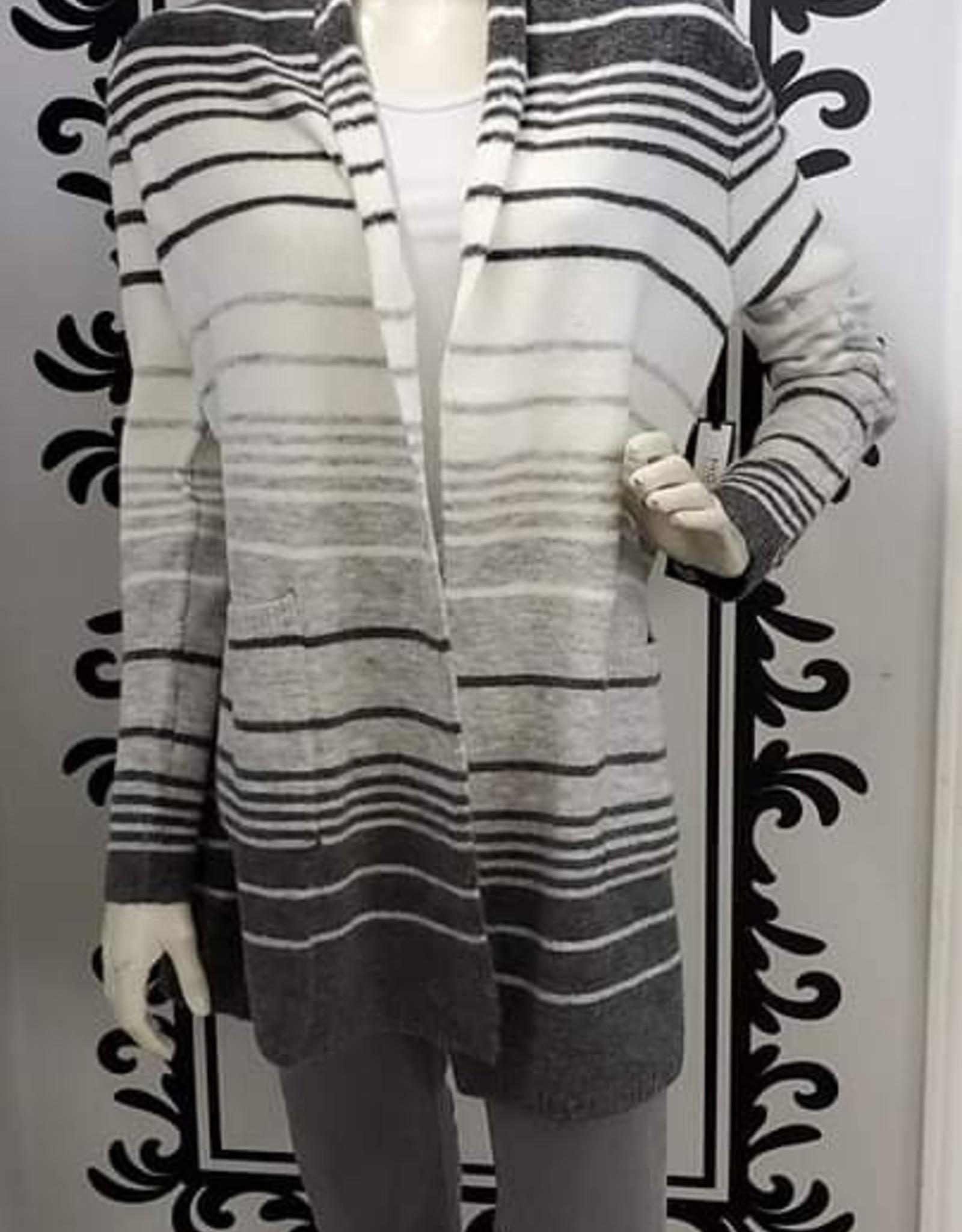 Point Zero Point Zero Open Color Block Cardigan W/ Stripe Placement MOH9182