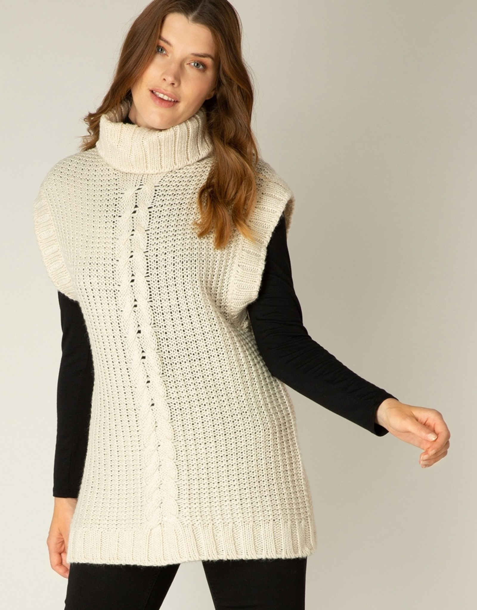 Yest Yest Adoree 2200 Short Sleeve Knit Sweater with A Cowl Neck