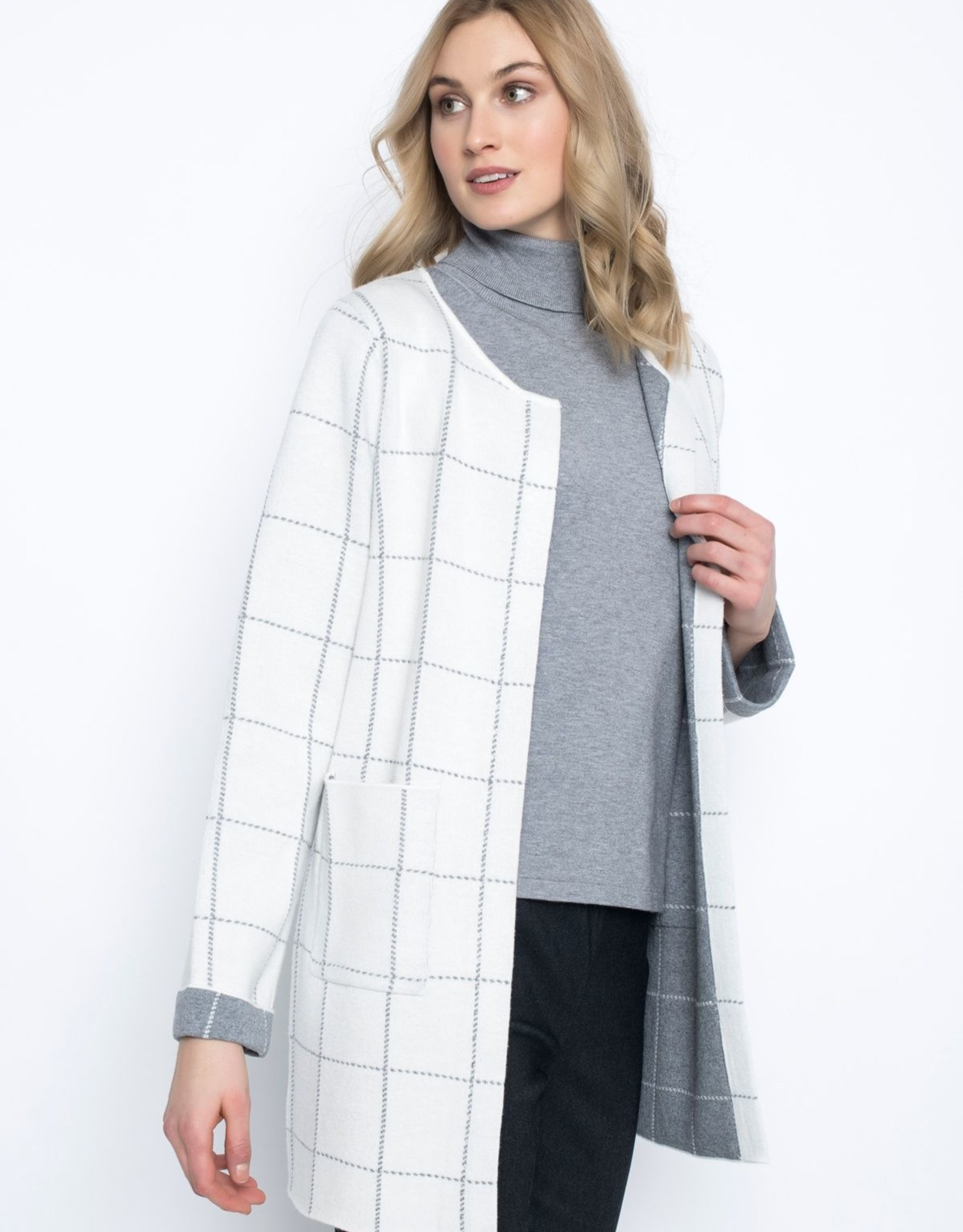 Picadilly Picadilly RK537OR Long Open Cardigan with Closure at the Neckline and Pockets Grid Pattern