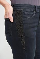 Joseph Ribkoff Joseph Ribkoff 213987 Classic Slim Denim Pant with 5 Pockets and Frayed Hem. Gunmetal Rhinestone Detail