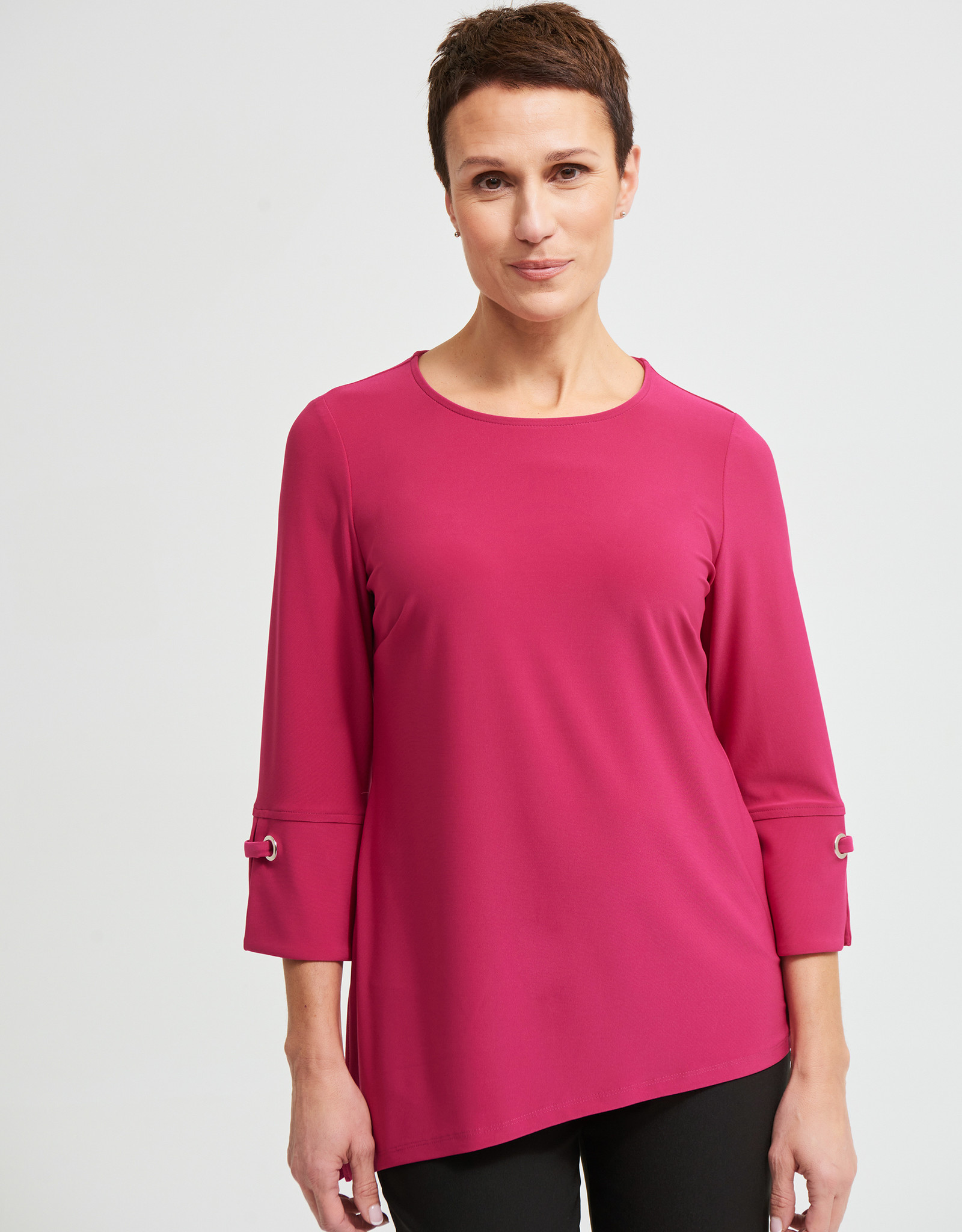 Joseph Ribkoff Joseph Ribkoff 213373 Ladies 3/4 Sleeve Top with a Round neckline and Grommet detail on sleeve