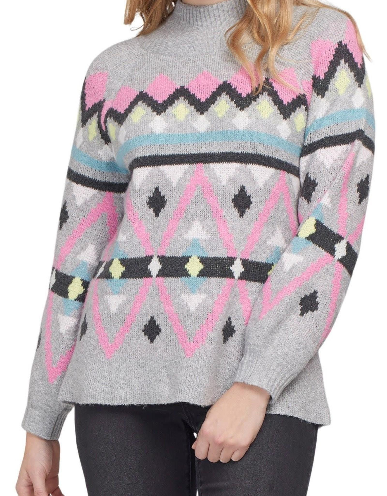 Tribal Tribal 7144O Intarsia Mock Neck Sweater