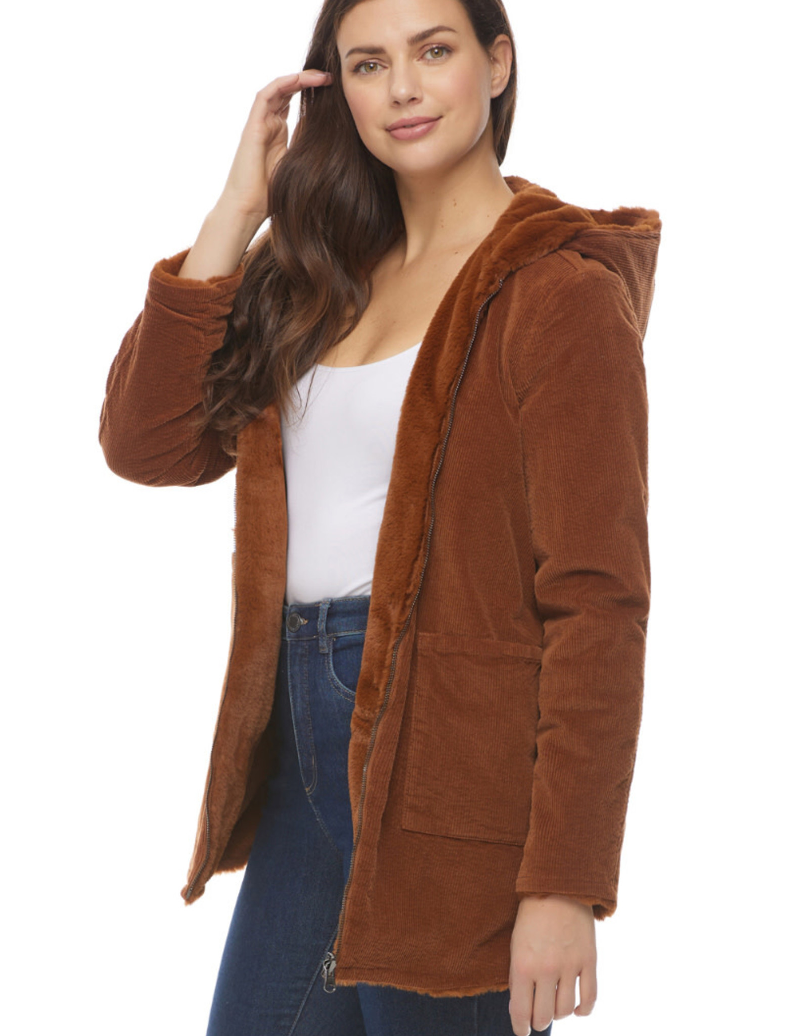 French Dressing Jeans FDJ Reversible  Zip Up Jacket with Pockets and a Hood