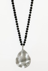 Caracol Caracol 1416 Long Beaded Wood Necklace With Worn Hammered Metal Drop