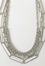 Caracol Caracol 1448 Statement Necklace with Multi Max Link Metal Chain in a Worn Finish