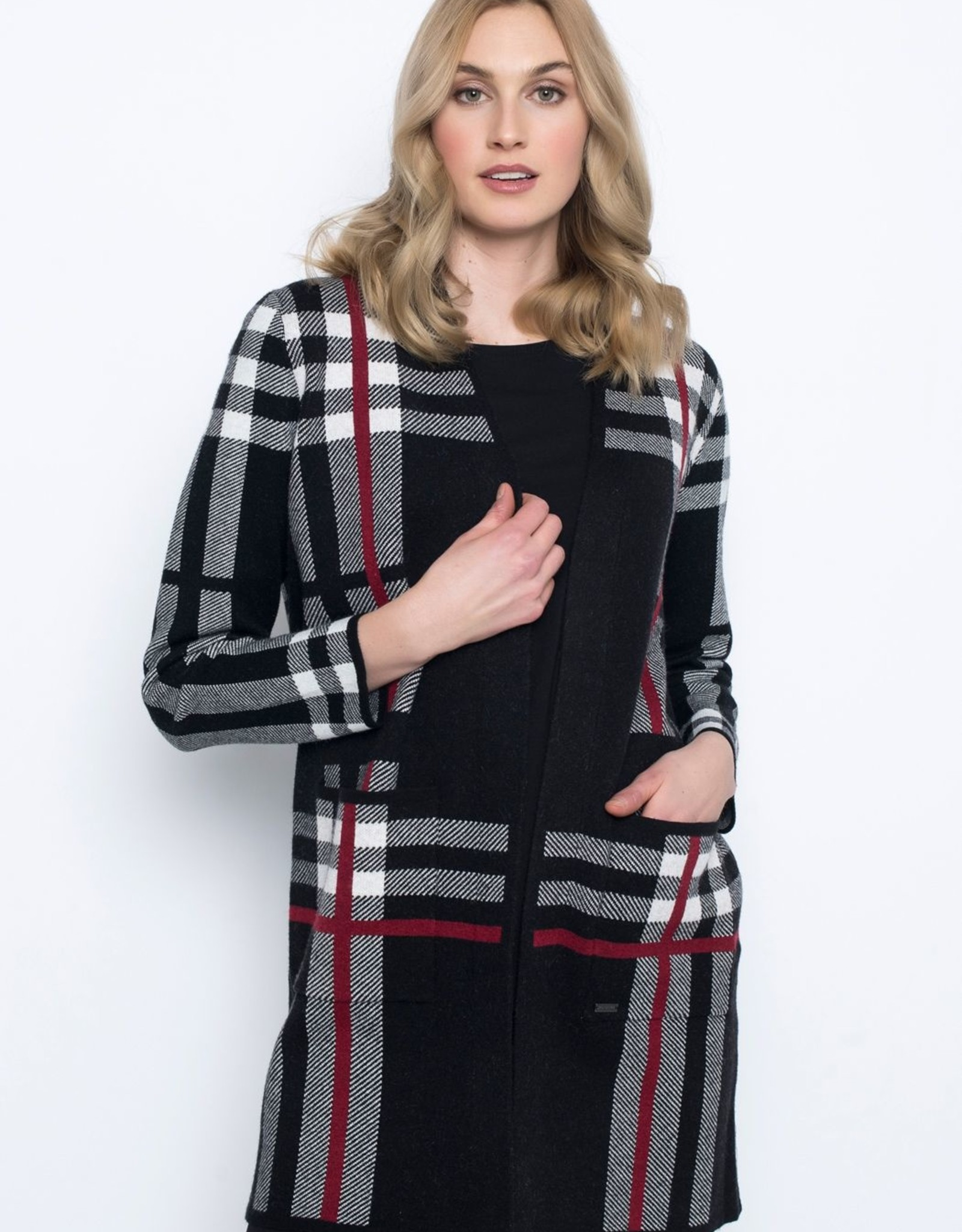 Picadilly Picadilly Plaid Long Cardigan RK562QY