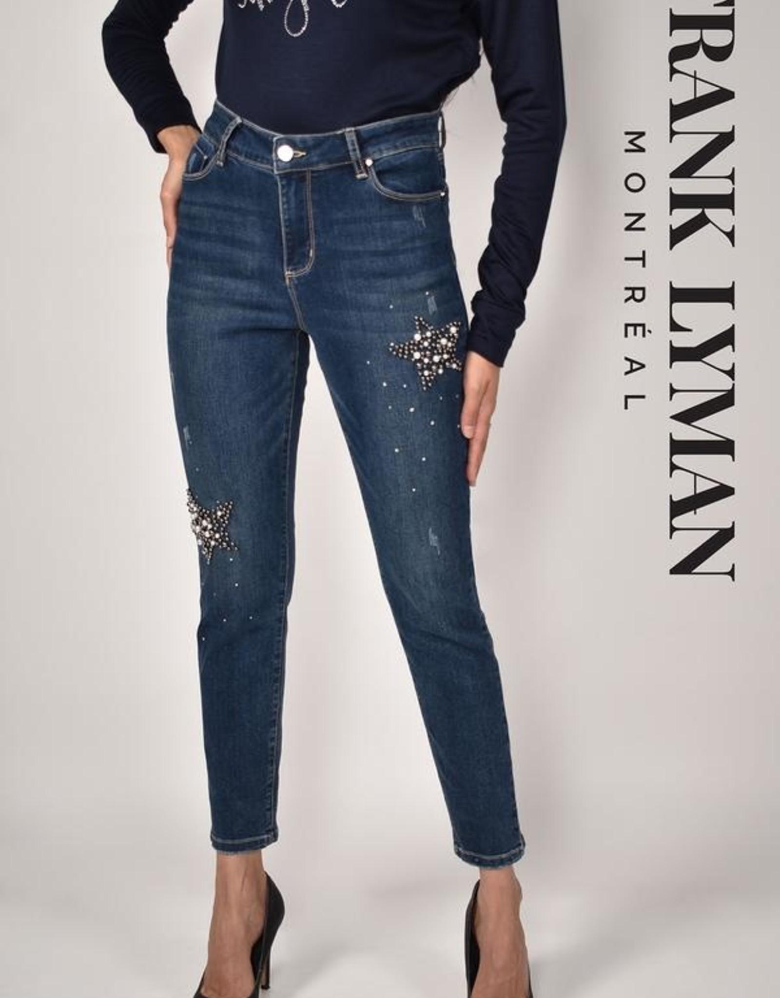 Frank Lyman Frank Lyman 214154U Dark Denim Pant with some Distressing and Pearl Star Embellishments