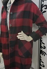 RD Style Hooded Plaid Woven Coat
