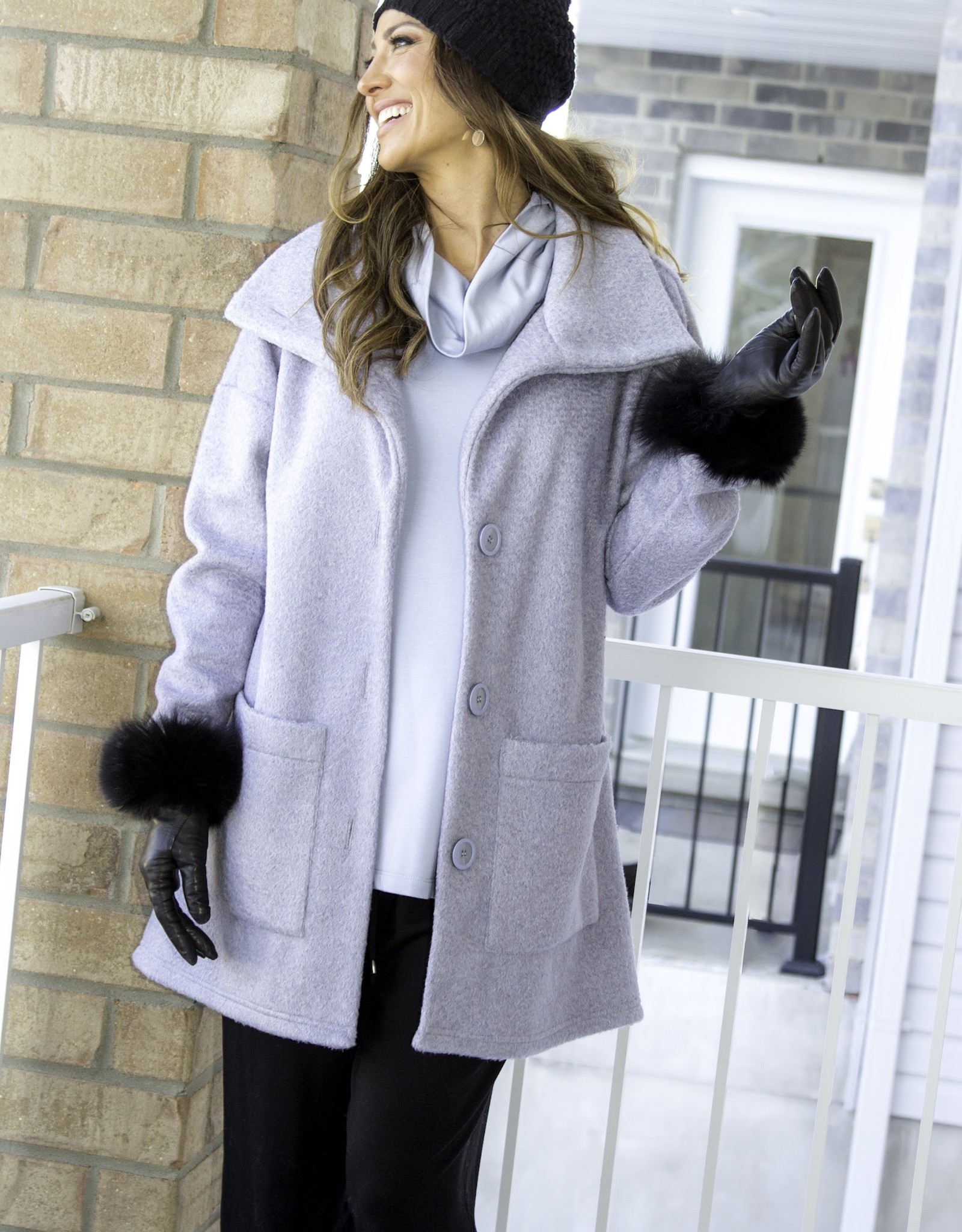 Pure Essence Pure Essence 440-7009 Long Jacket with Button that go up to the Collar