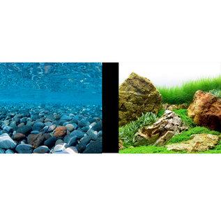 "Marina Marina Double-Sided Aquarium Background - Stoney River/Japanese Garden Scenes - 18 ""High"