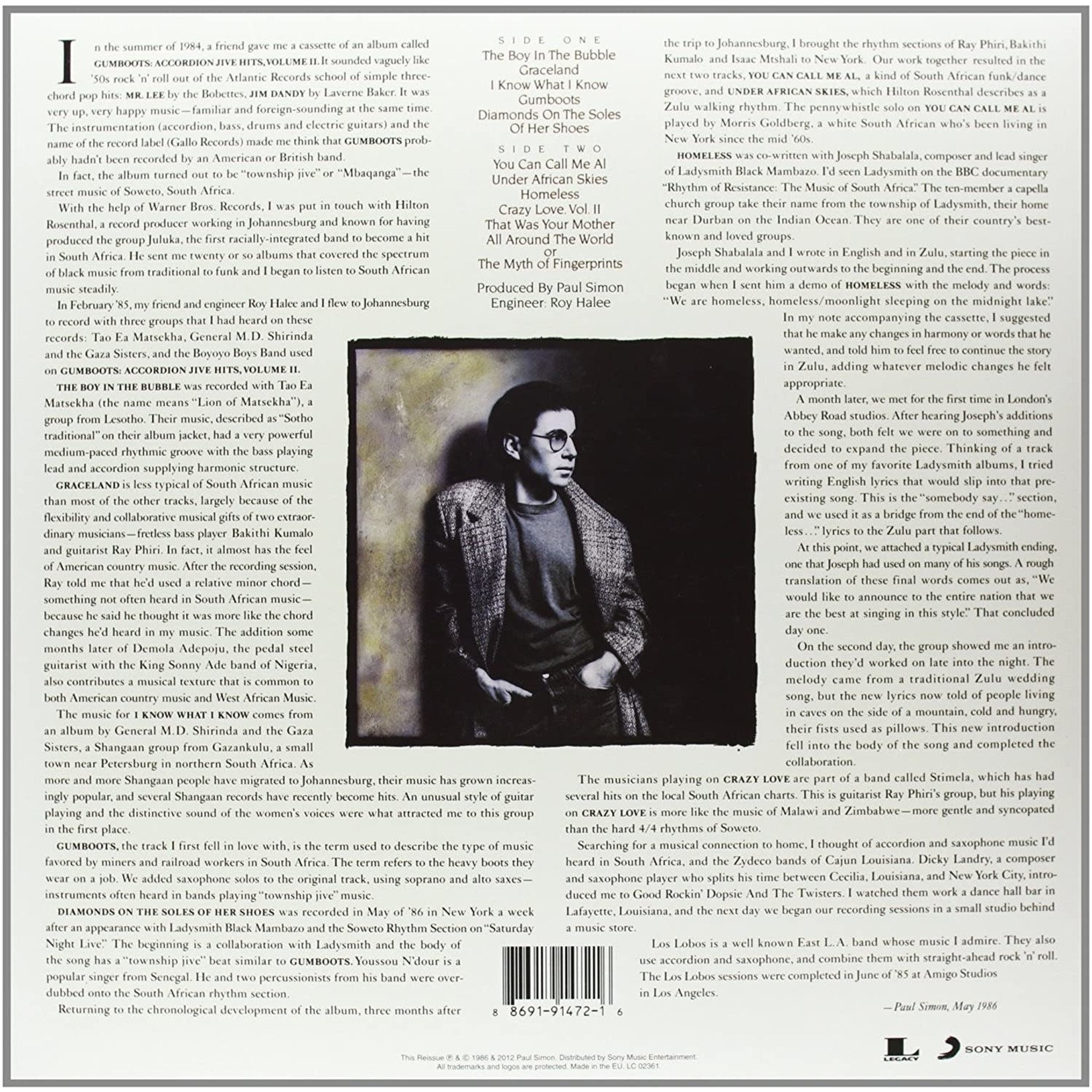 PAUL SIMON GRACELAND  25TH ANNIVERSARY LP