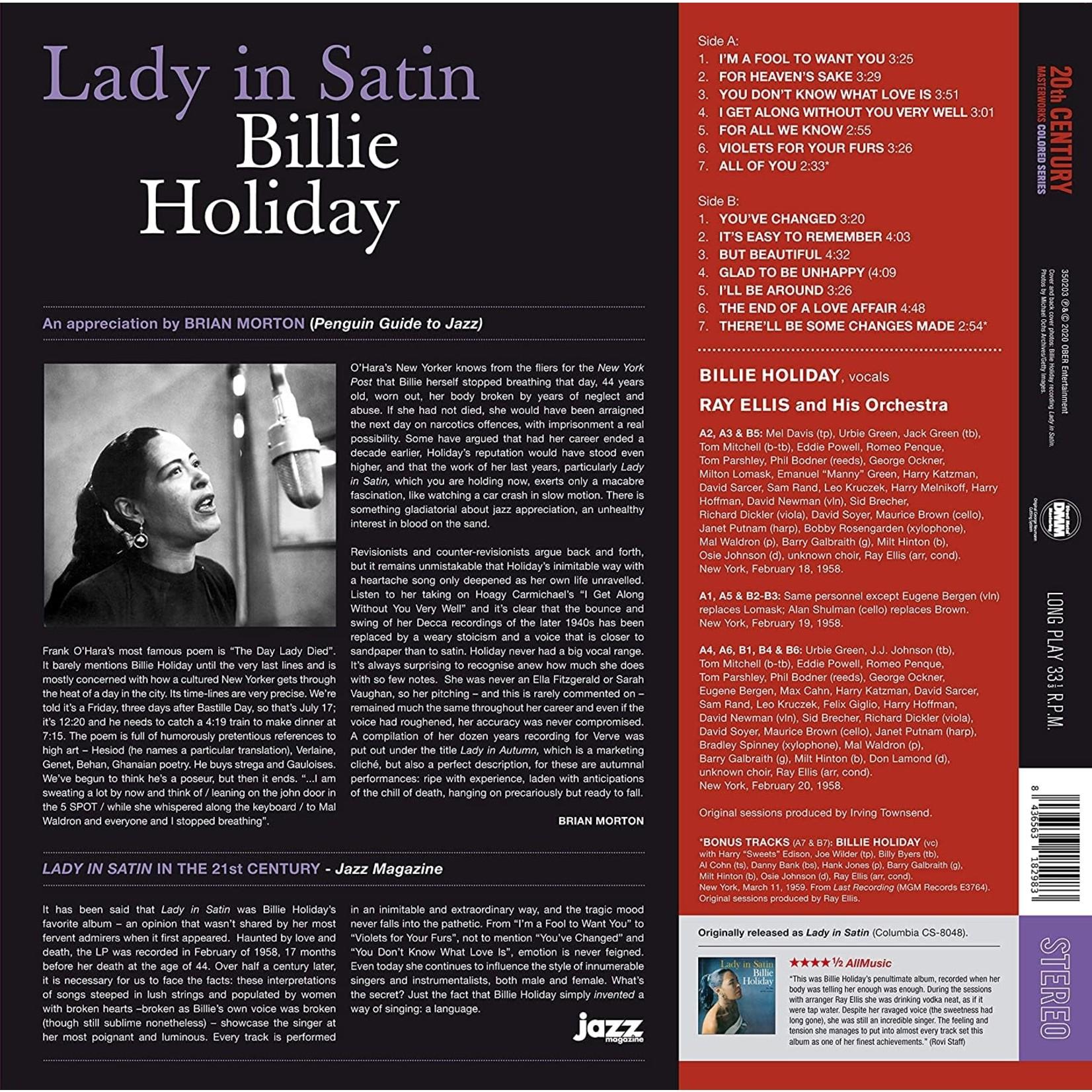 BILLIE HOLIDAY LADY IN SATIN + 2 BONUS TRACKS! IN TRANSPARENT PURPLE VINYL.