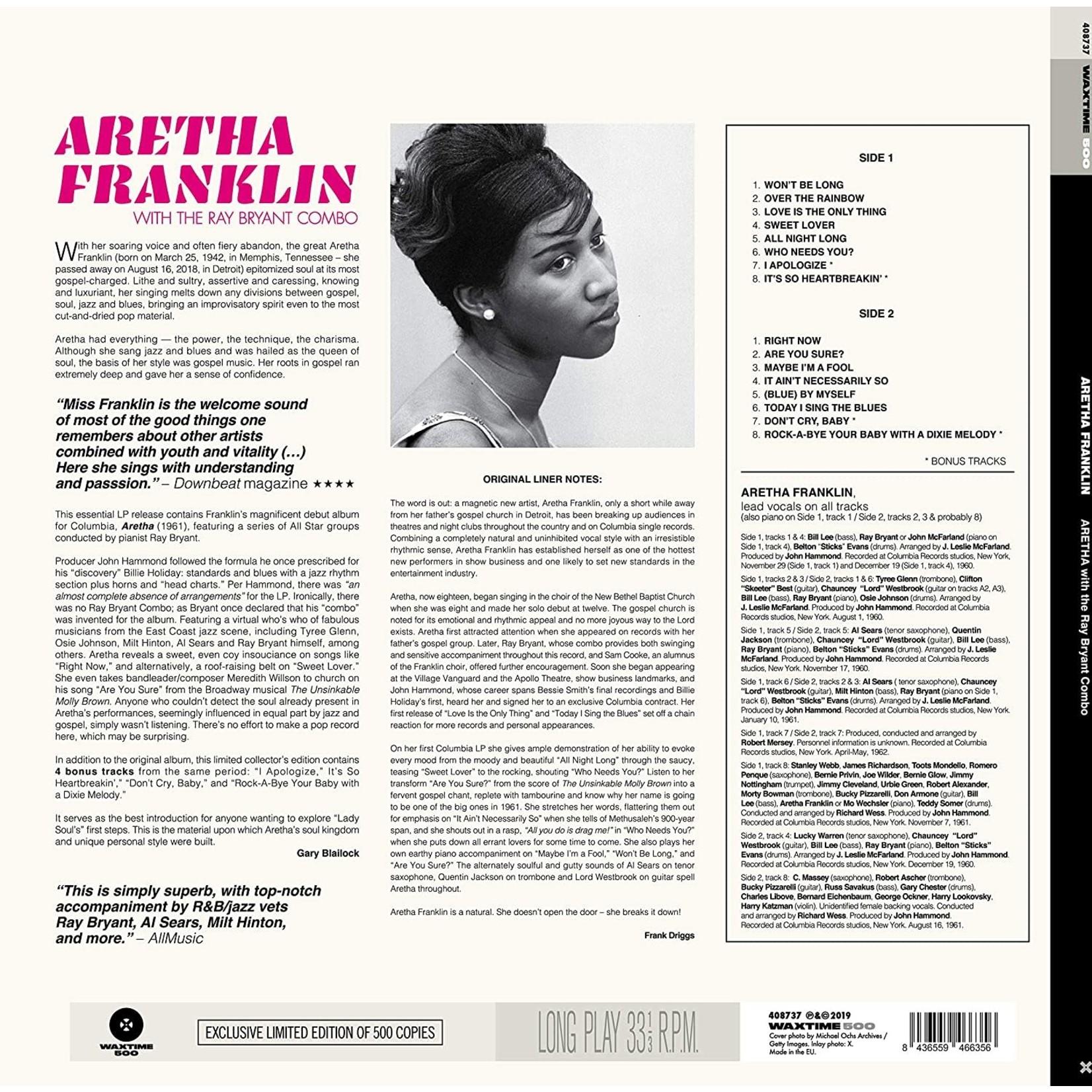ARETHA FRANKLIN ARETHA WITH THE RAY BRYANT COMBO + 4 BONUS TRACKS!