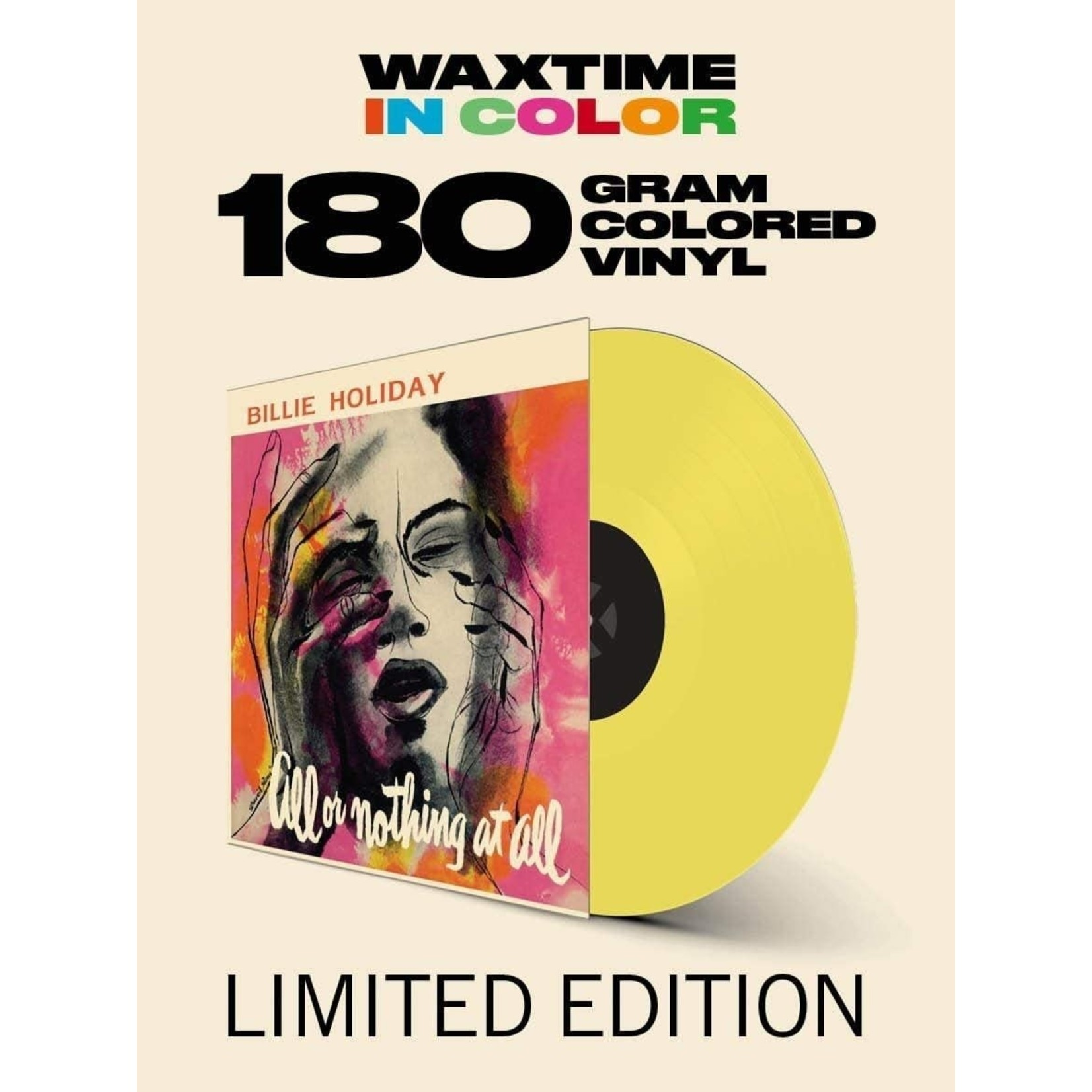 BILLIE HOLIDAY ALL OR NOTHING AT ALL  LTD EDITION YELLOW VINYL + BONUS TRACK
