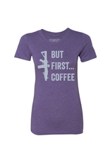 BRCC Women's But First Coffee Shirt Color: Purple Rush Size: Large