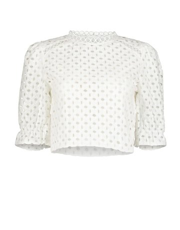 BISHOP + YOUNG SHYANNE EYELET BLOUSE TOPS STONE M