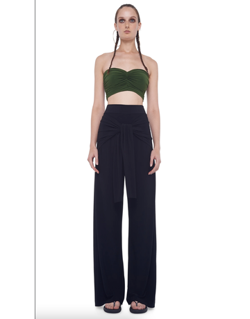 NORMA KAMALI TY FRONT ALL IN ONE STRAIGHT PANTS BLACK MT: S/32