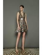BRONX AND BANCO NINA FLARED MINI DRESSES GOLD/SILVER MT:S