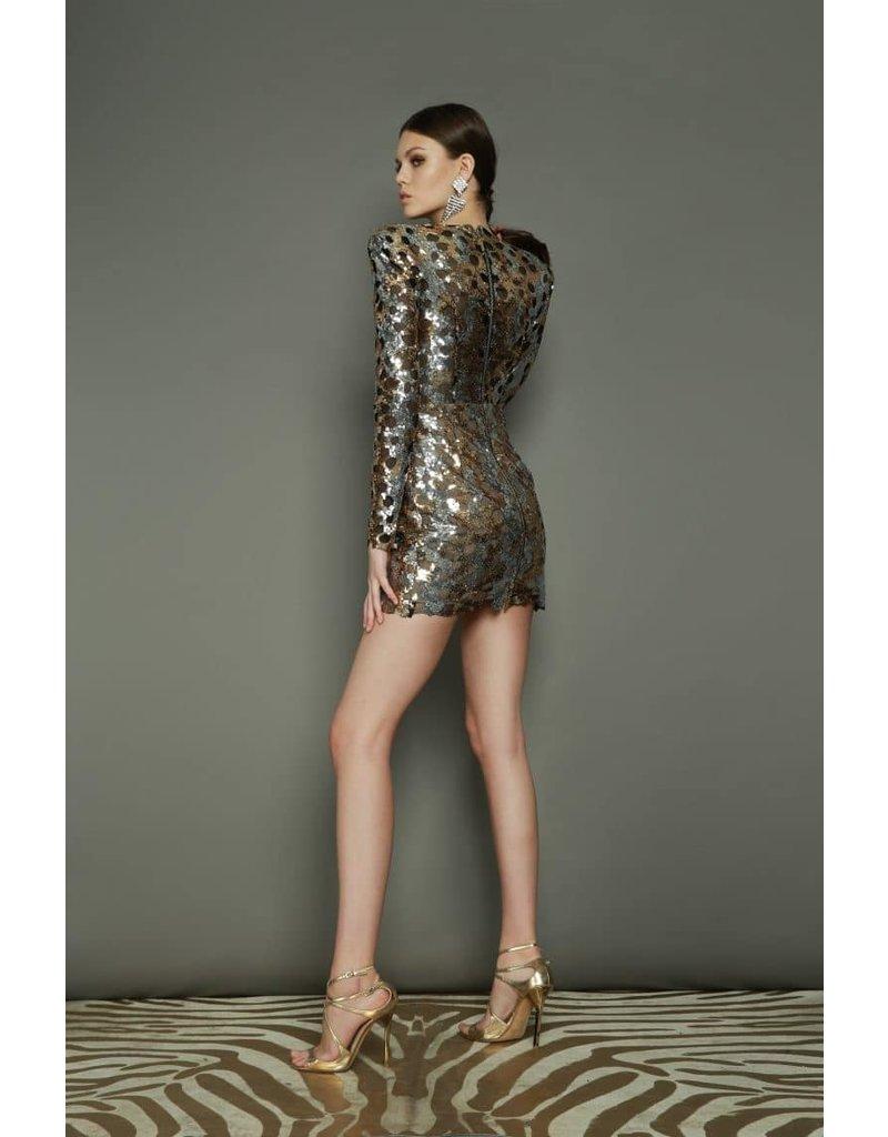 BRONX AND BANCO NINA MINI DRESSES GOLD/SILVER MT:XS