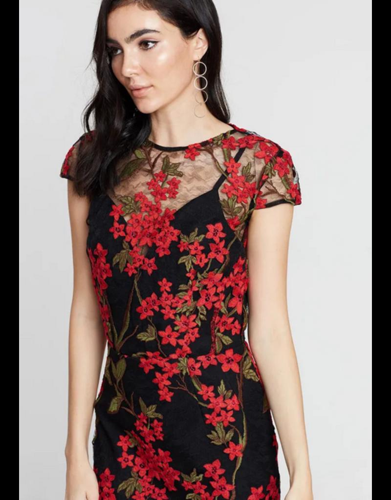 BRONX AND BANCO ELSA MIDI DRESSES BLACK/RED MT:L