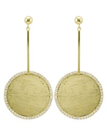 """SHEILA FAJIL BR3592G VALETTA EARRINGS 3"""" LONG, 1.5"""" *58-8* 18K GOLD PLATED"""