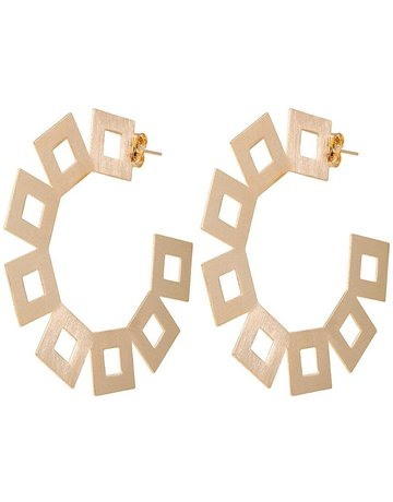 SHEILA FAJIL BR2603G EARRINGS VICA HOOPS SQUARES ALL AROUND *55-7*