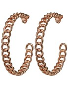 "SHEILA FAJIL BRD16RG CHAIN HOOP ROSE GOLD EARRINGS 2.5"" *59-2*"
