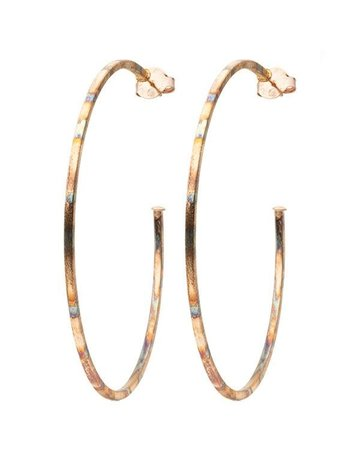 "SHEILA FAJIL BR1326BANT BURNISHED NIKY HOOP EARRINGS  2 3/4"" diameter *49-5*"