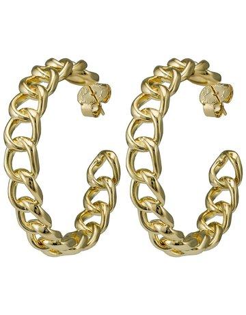 """SHEILA FAJIL BRD15G CHAIN HOOP EARRINGS 18K GOLD PLATED 2.5"""" SMALL *59-2*"""