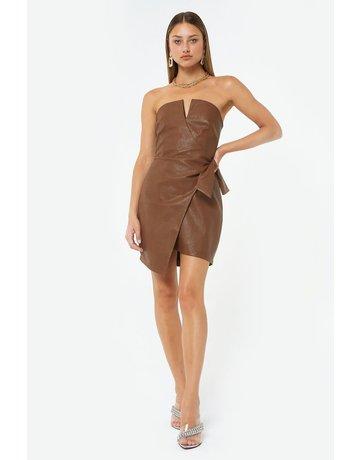 4SI3NNA KALILA PLEATHER STRAPLESS W/WIRE DRESSES