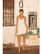 4SI3NNA MERCEDES SLEEVELESS CENTER RUCHED W/ FLORAL EMB MINI DRESSES
