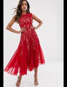 BRONX AND BANCO SABA MIDI DRESSES MAROON MT: S