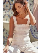 ASTR THE LABEL TWIGGY STRIPED TANK TOPS OFF WHITE MT: M