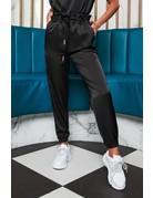 LAVISH ALICE DOUBLE WAISTBAND SATIN JOGGER PANTS