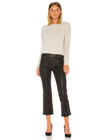 J BRAND SELENA MID RISE CROP BOOT JEANS GALACTIC BLACK LEATHER MT: 24