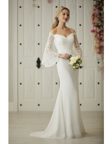 CHRISTINA WU 22931 FIT TO FLARE OFF SHOULDER BELL SLEEVES WEDDING GOWNS